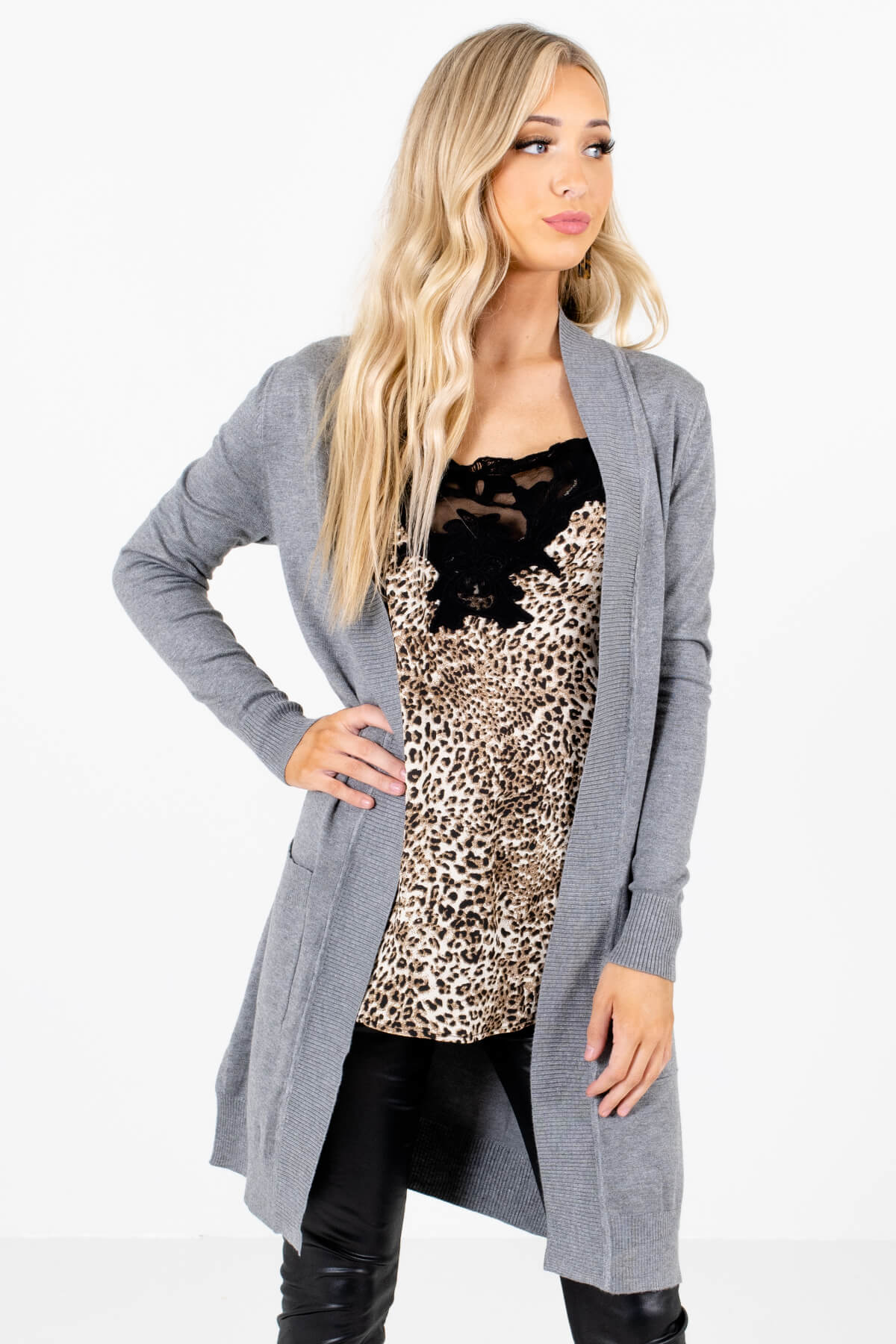 Heather Gray Long Length Boutique Cardigans for Women