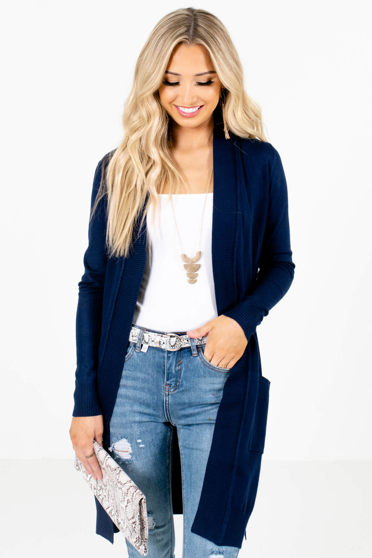 Navy Blue Long Length Boutique Cardigans for Women