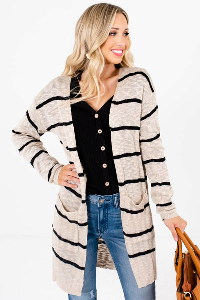 Beige Brown and Black Stripe Patterned Boutique Cardigans for Women