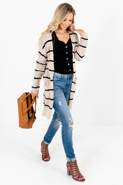 Women's Beige Brown Side Hem Slit Boutique Cardigans