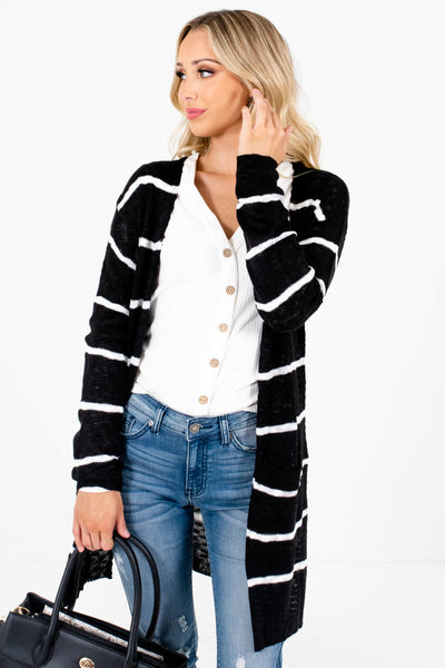 Black and White Stripe Patterned Boutique Cardigans for Women