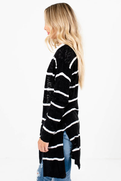 Black Lightweight Knit Boutique Cardigans for Women