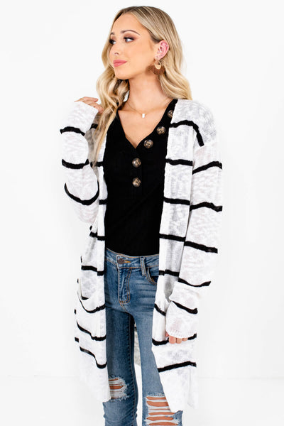 White Lightweight Knit Boutique Cardigans for Women