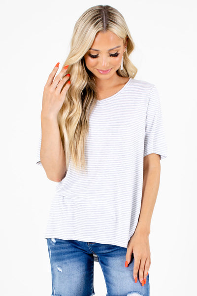 Gray and White Striped Boutique Tops for Women