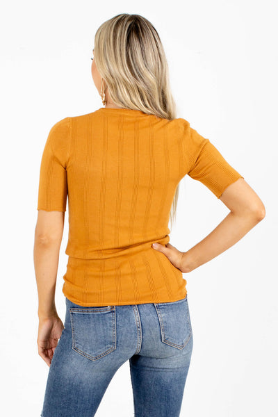 Women's Orange Short Sleeve Boutique Top