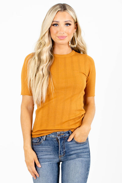 Orange Round Neckline Boutique Tops for Women