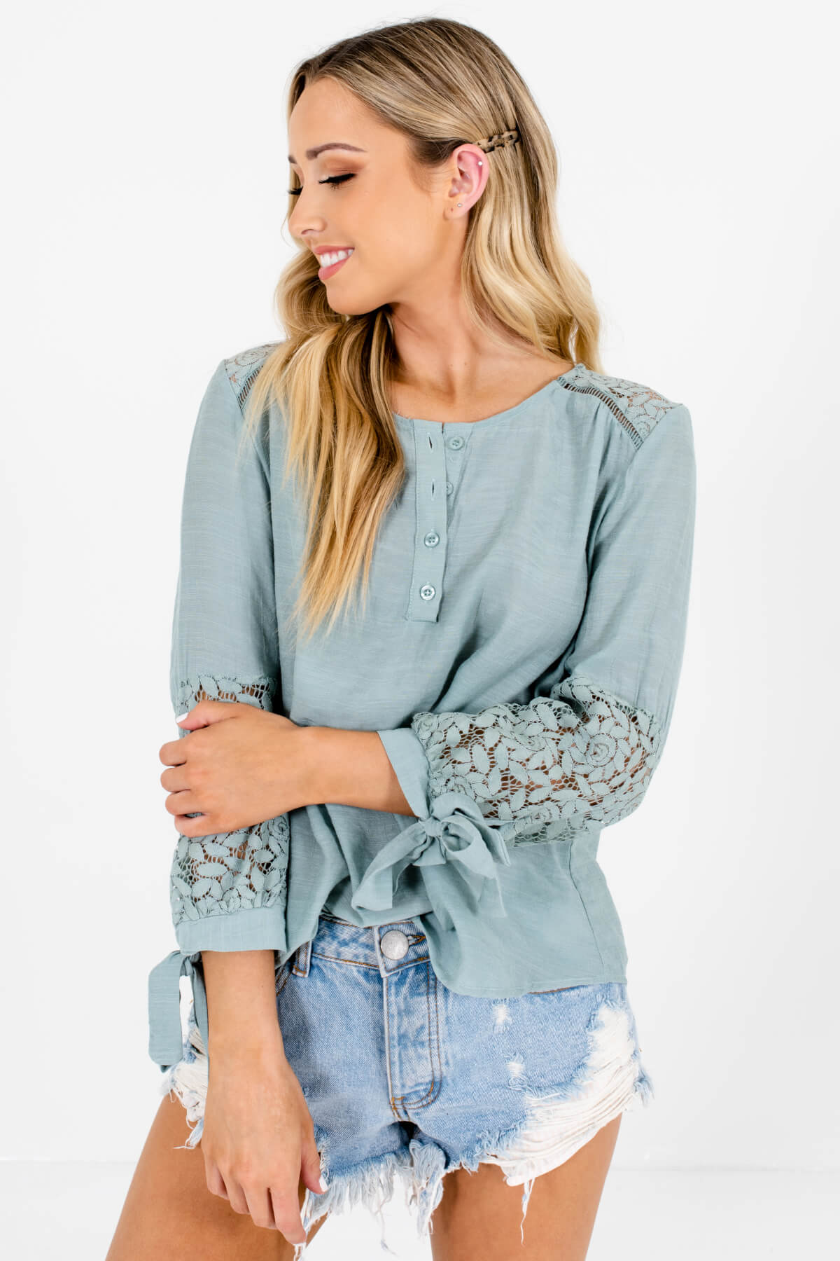 Turquoise Blue 3/4 Sleeve Floral Crochet Lace Tops for Women