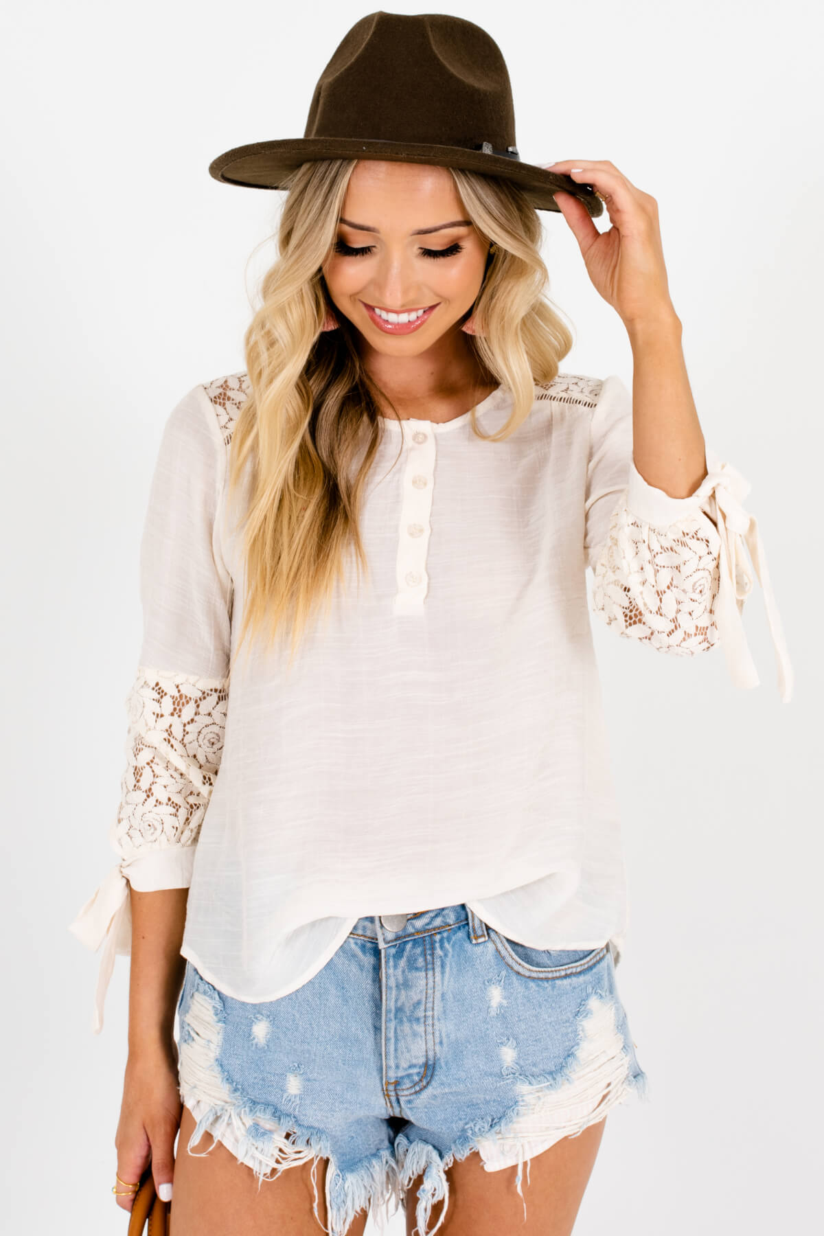 Cream Crochet Floral Lace Tie-Sleeve Tops Affordable Online Boutique