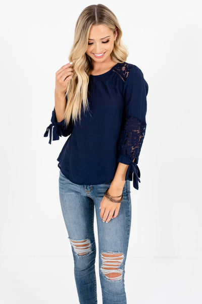 Navy Blue 3/4 Sleeve Crochet Lace Tops Affordable Online Boutique