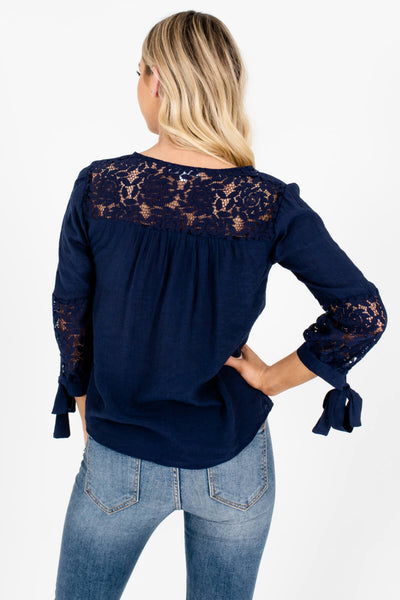 Navy Blue Floral Crochet Lace Accent 3/4 Sleeve Tops for Women