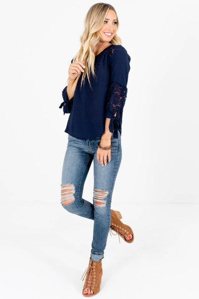 Navy Blue 3/4 Tie-Sleeve Crochet Tops Affordable Online Boutique