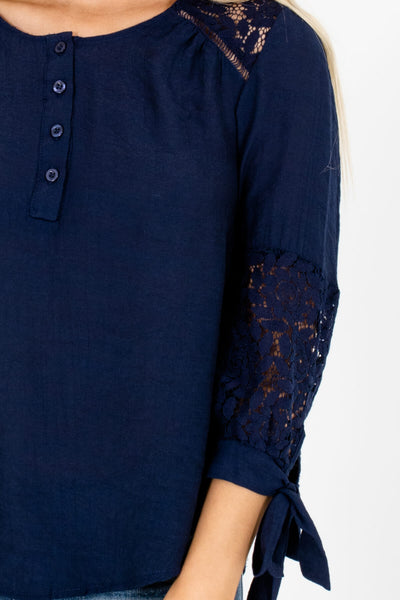 Navy Blue Crochet Lace Accent 3/4 Sleeve Tops for Women