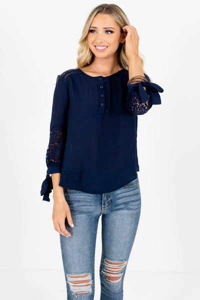 Navy Blue Crochet Lace 3/4 Sleeve Tops Affordable Online Boutique