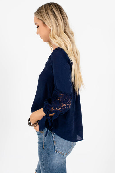 Navy Blue 3/4 Self-Tie Sleeves Crochet Lace Tops for Women