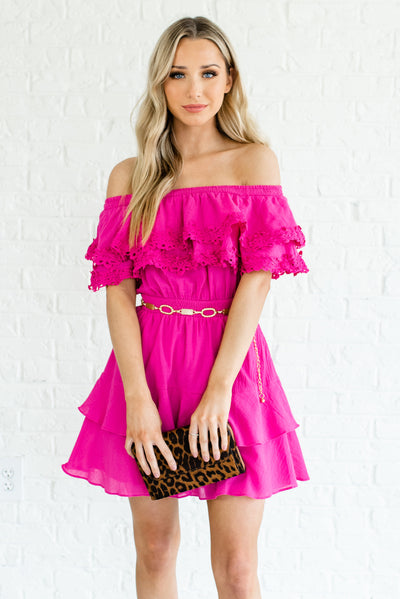 Fuchsia Pink Ruffled Mini Length Boutique Dresses for Women