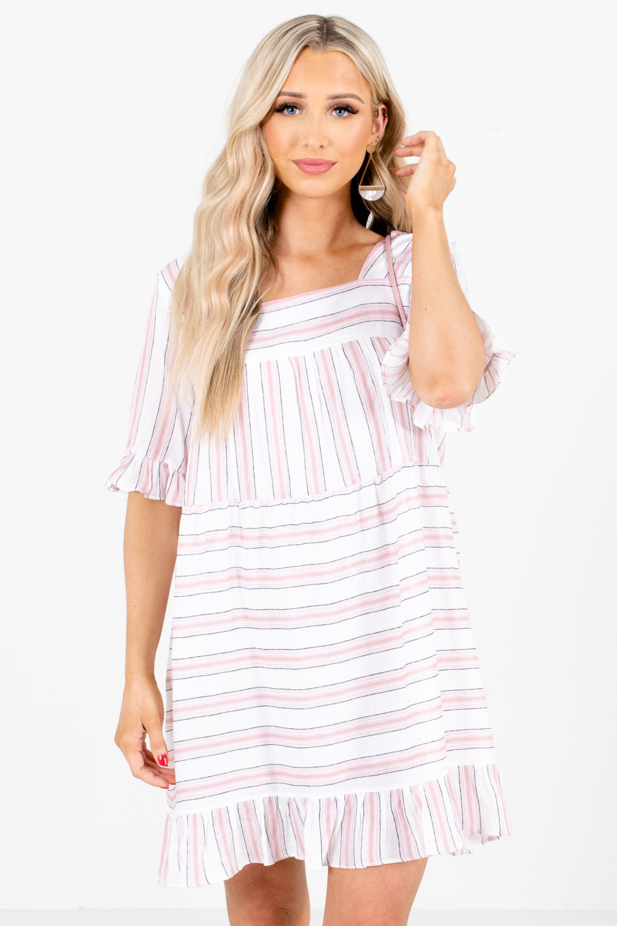 Pink Multicolored Stripe Patterned Boutique Mini Dresses for Women