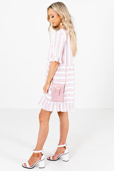 Pink Ruffle Accented Boutique Mini Dresses for Women
