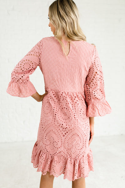 Pink Women's Boutique Dress with Ruffled Detailing