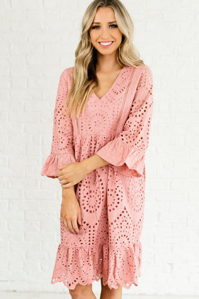 Pink Eyelet Embroidered Boutique Dresses for Women