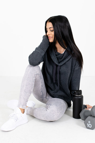 Charcoal Gray Super High-Quality Soft Material Boutique Active Hoodies for Women