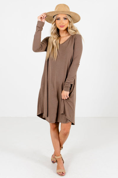 Brown Cute and Comfortable Boutique Mini Dresses for Women