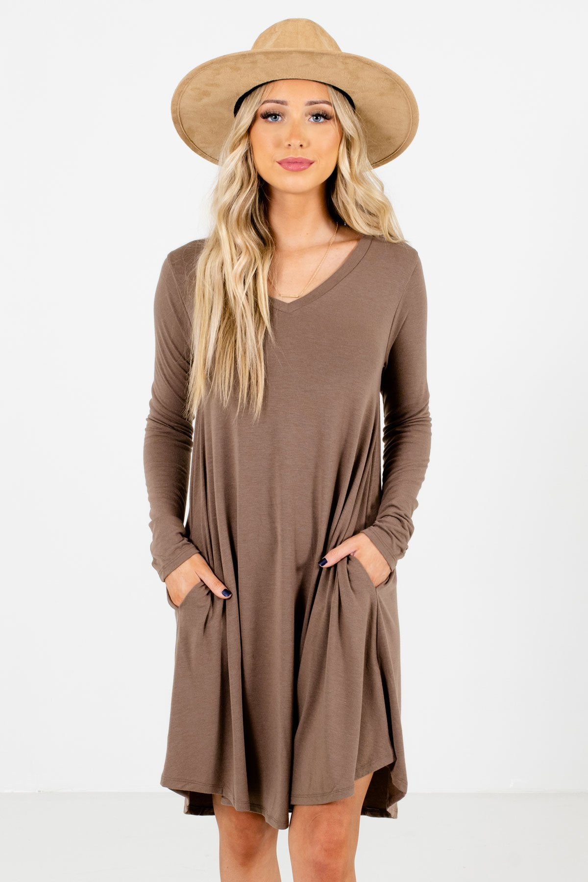 Brown Long Sleeve Boutique Mini Dresses for Women