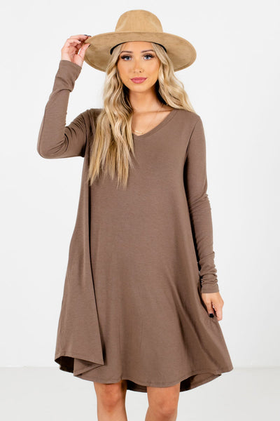Women's Brown High-Quality Material Boutique Mini Dress