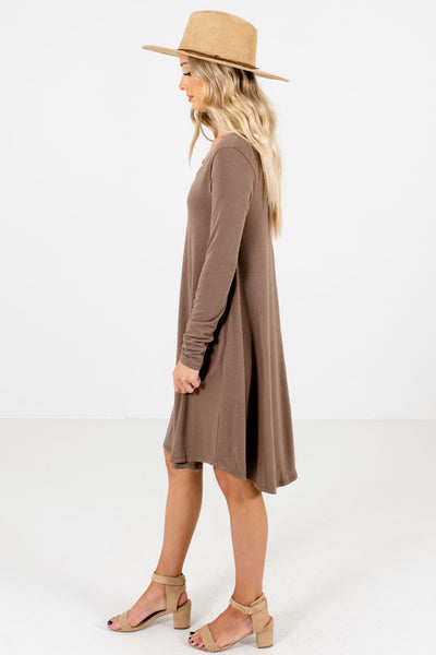 Brown Boutique Mini Dresses with Pockets for Women