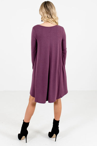 Women's Purple V-Neckline Boutique Mini Dress