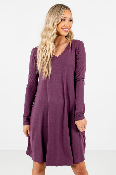 Women's Purple Flowy Silhouette Boutique Mini Dress