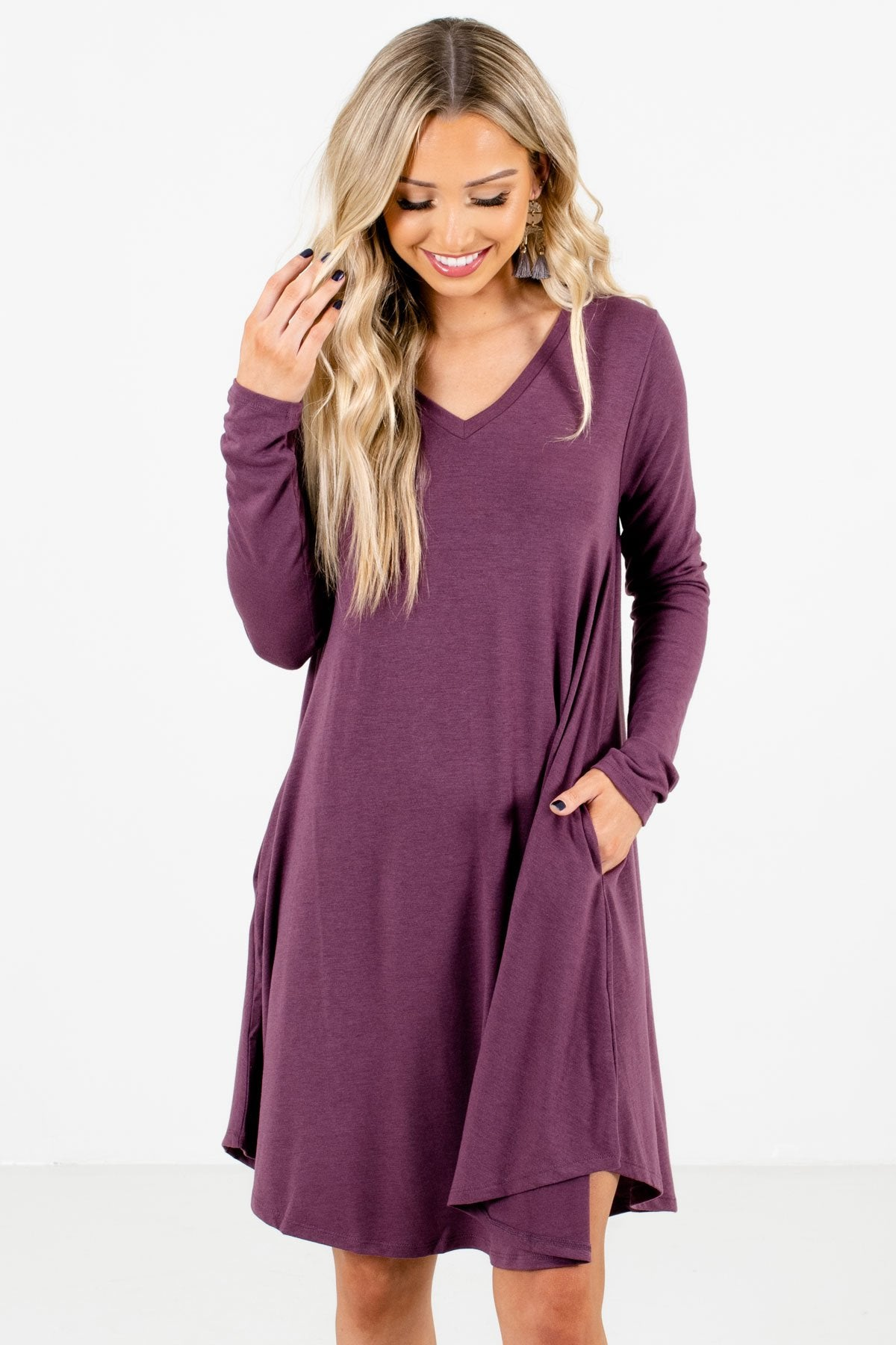 Purple Long Sleeve Boutique Mini Dresses for Women