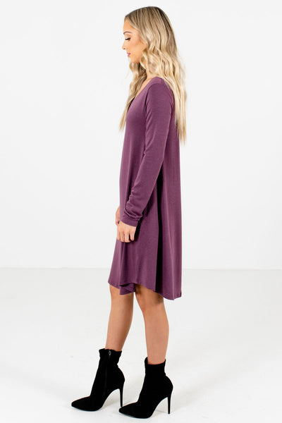 Purple Boutique Mini Dresses with Pockets for Women