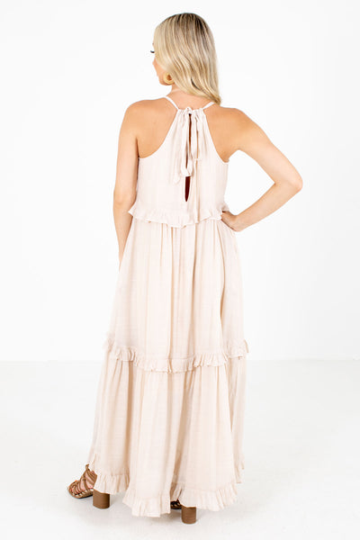 Women's Beige Cute and Comfortable Boutique Maxi Dress