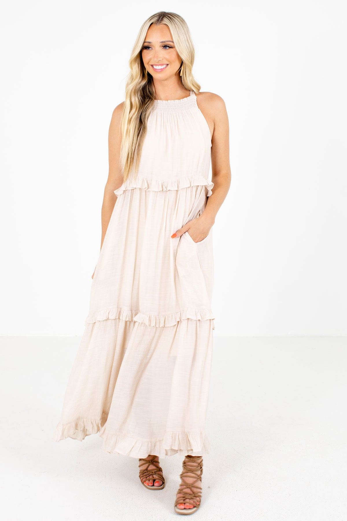 Beige Boutique Maxi Dress with Pockets for Women