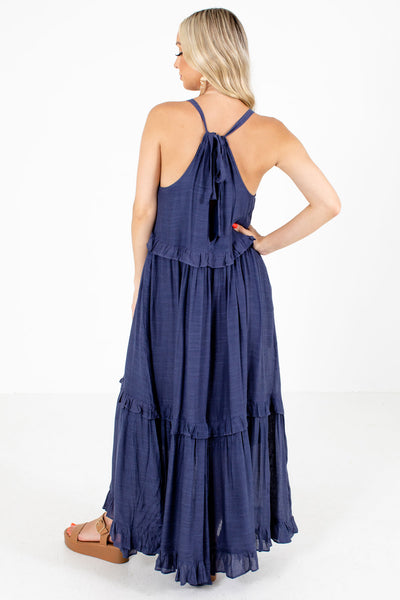 Navy Blue Partially Lined Boutique Maxi Dresses for Women