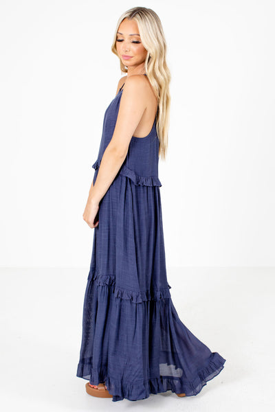 Women's Navy Blue Flowy Silhouette Boutique Maxi Dress
