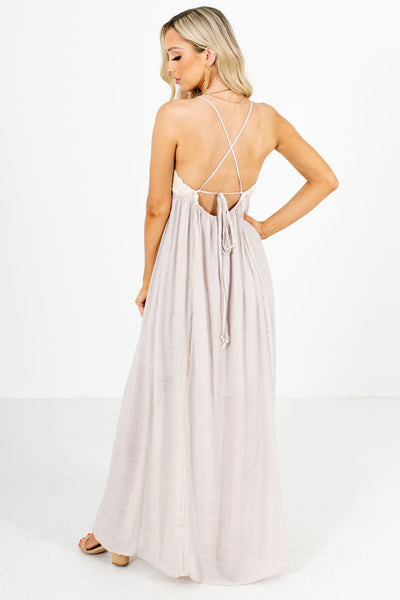 Women's Taupe Brown Open Back Boutique Maxi Dress