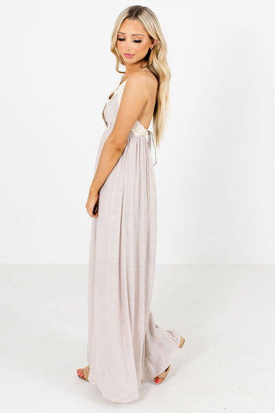 Taupe Brown Partially Lined Boutique Maxi Dresses for Women