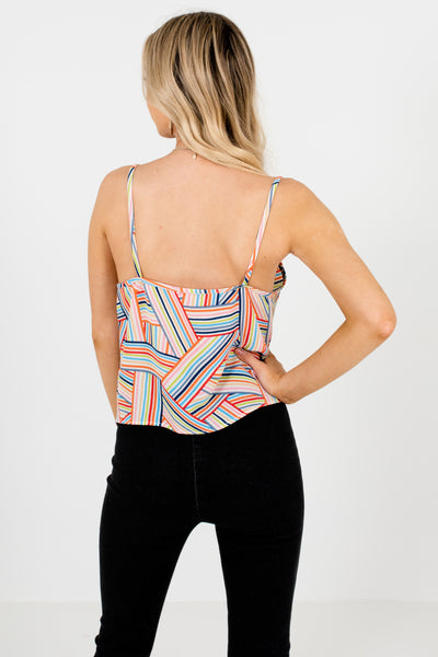 White Blue Rainbow Multi Striped Front Knot Tank Tops for Women