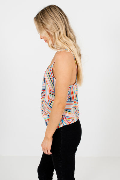 Rainbow Striped Front Knot Tank Tops Affordable Online Boutique