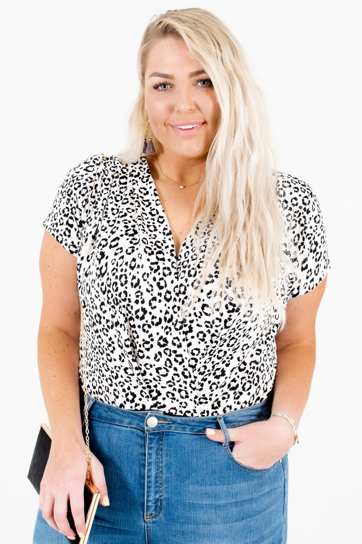 White Black Leopard Print Plus Size Boutique Bodysuits for Women