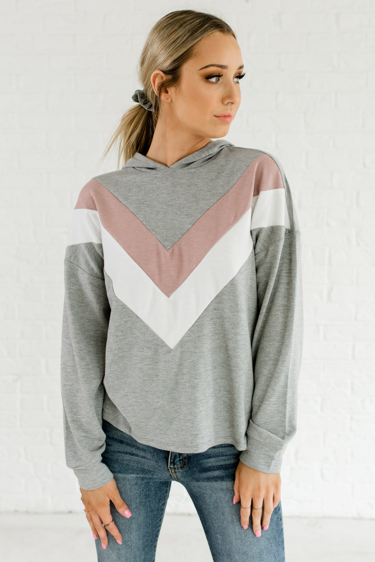 Heather Gray Mauve White Color Block Chevron Lightweight Hoodies and Outerwear