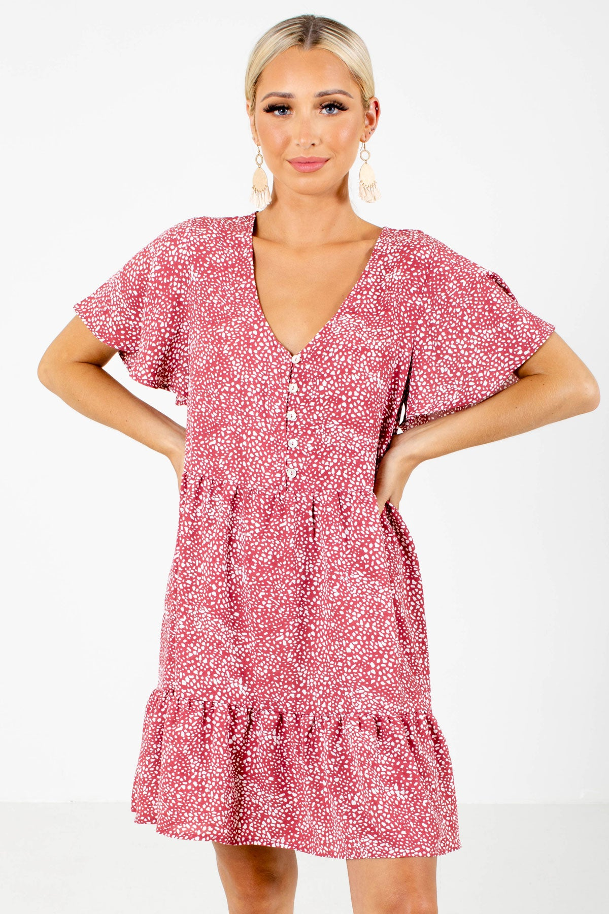 Pink Patterned Boutique Mini Dresses for Women