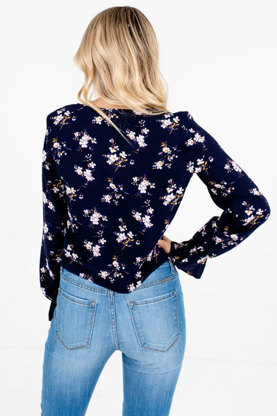 Navy Floral Print Drawstring Ruched Bodice Tops for Women