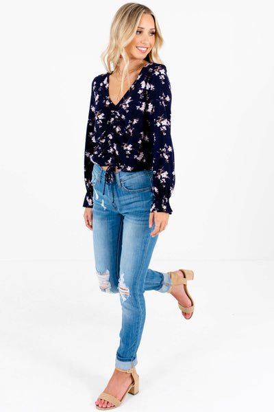 Navy Blue Cherry Blossom Floral Print Ruched Tops for Women