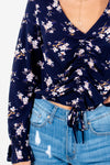 Navy Blue Floral Print Ruched Bodice Long Sleeve Tops for Women