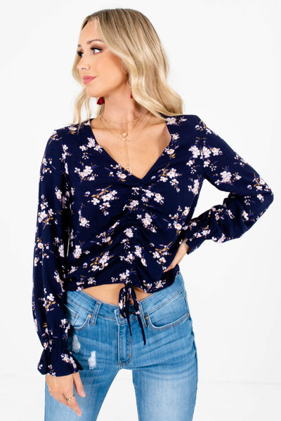 Navy Pink Cherry Blossom Floral Print Ruched Bodice Tops