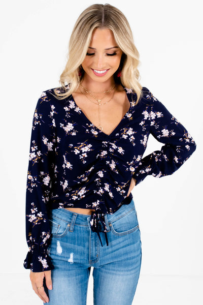 Navy Blue Pink Floral Print Ruched Tops Affordable Online Boutique