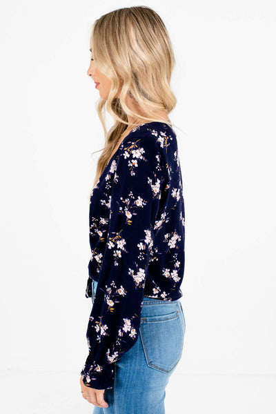 Navy Blue Floral Print Ruched Tops Affordable Online Boutique