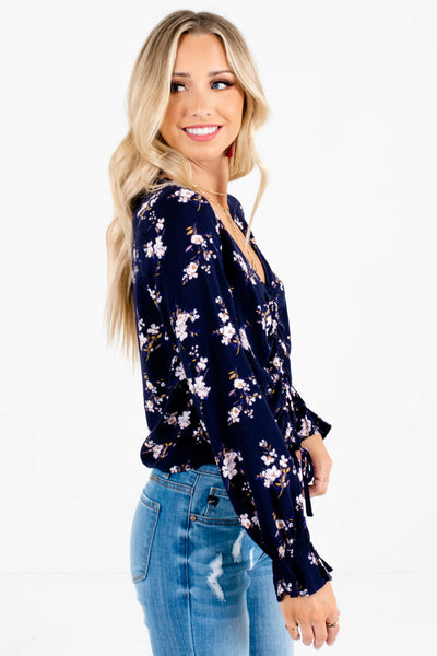 Navy Blue Floral Print Long Sleeve Ruched Tops for Women